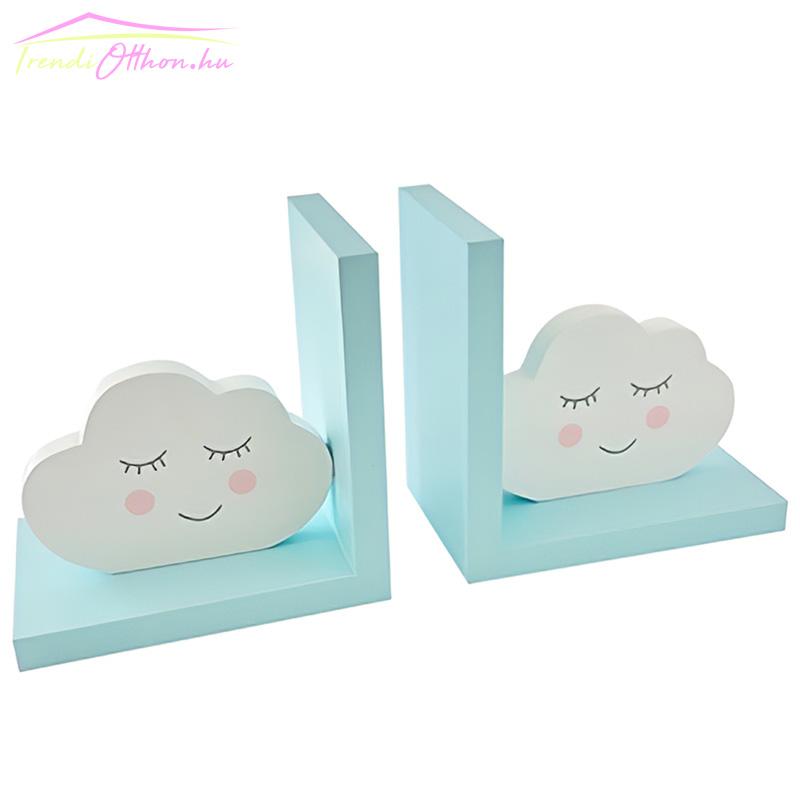 Fa felhős könyvtámasz, kék